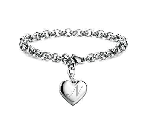 Initial Charm Bracelets Stainless Steel Heart Letters N Alphabet Bracelet for Women
