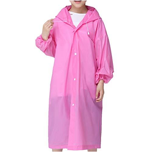 Jchen Kids Raincoat Outdoor Travel Rain Jacket, Boys Girls Durable Translucent Rain Poncho Portable Hooded Rain Cape Rainwear (Pink)