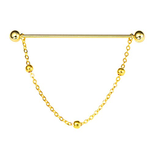 Healifty hombres corbata en tono dorado corbata corbata pasador clip camisa de negocios cuello barra broche con cadena