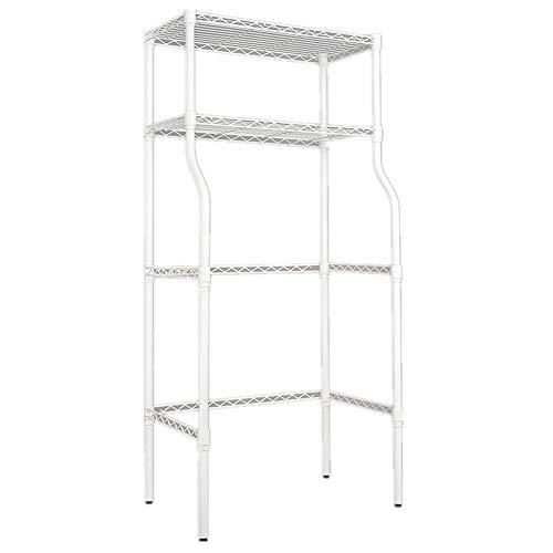 QinWenYan Lavanderia WC 2-Shelf over witte wasmachine Utility metaal badkamer spaarder ruimte boven de kast