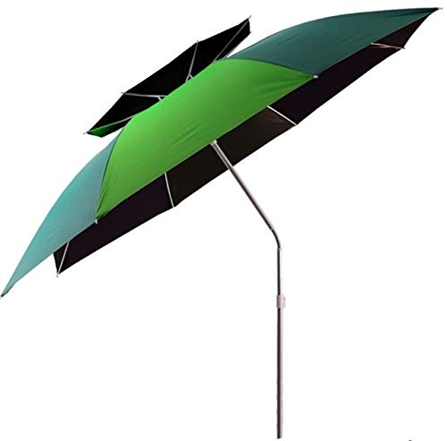 Mdsfe 2.0m-2.4m Large Size Fishing Umbrella Foldable Double Layer Outdoor Rain-proof Beach Tent Rest Angling Anti-UV Sunshade Awning-green 2.2 m