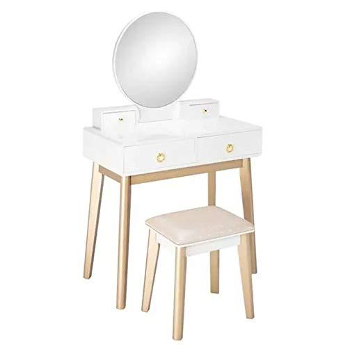 ZDAMN Tocador de maquillaje para dormitorio, de madera real, de lujo, sin lámpara, tocador para el hogar (color: blanco, tamaño: 135 x 80 x 40 cm)