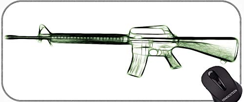 Almohadilla de Escritorio Almohadilla de Teclado, Pistola m16 Rifle Fractal Mouse Pad con Bordes cosidos
