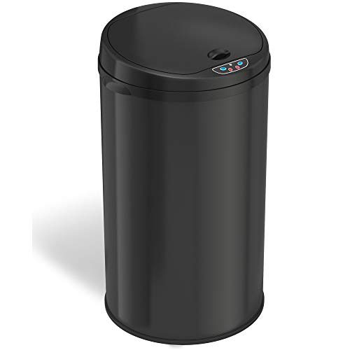 iTouchless 8 Gallon Touchless Sensor Trash Can with AbsorbX Odor Filter, 30 Liter Round Black Steel Garbage Bin, Perfect for Home, Kitchen, Office, Onyx Black (MT08RB)