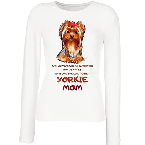 lepni.me Camisetas de Manga Larga para Mujer Yorkie Mom Yorkshire Terrier Regalo de Dueño de Mascota (XL Blanco Multicolor)