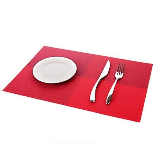 LZFLZ 4 Teile/Satz Tischsets PVC Tischset Farbblock Esszimmer Disc Pads Untersetzer 30 * 45 cm (Color : Red)