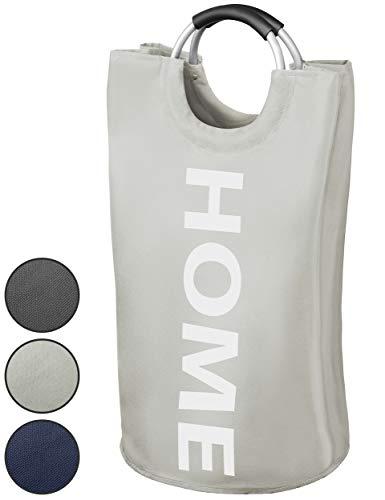 WELLENBORG® Premium Wäschekorb - [38x72cm | 82 Liter] - wasserabweisender Wäschesammler - Faltbarer Wäschekorb hellgrau - einzigartige Wäschetonne - schöner Wäschesack in 3 Farben