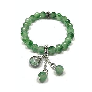 Sea Shell Charm Green Jade Stretch Gemstone Bracelet