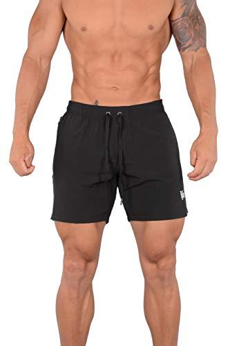 YoungLA Swim Shorts for Men | Quick Dry Trunks | Exclusive Designer Anti Chafe Swimwear with Zipper Pocket | 110 Black XXL
