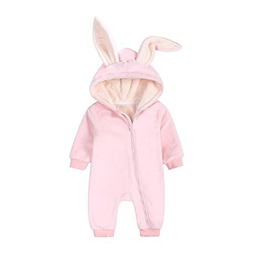 Verve Jelly Bebé recién nacido cálido mameluco de lana de manga larga con capucha y cremallera mono lindo conejo oreja mono otoño invierno prendas de vestir terciopelo rosa 66 3-6 meses