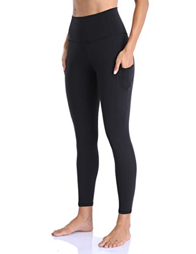 """YUNOGA Women's High Waist Buttery Soft Athletic Yoga Pants 25"""" Inseam Leggings with Pockets (M, Black)"""