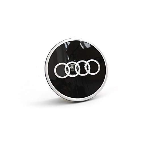 Audi 81A601170 Radzierkappe (1 Stück) Nabenkappe Nabendeckel Radnabenkappe Felgendeckel, schwarz/silber