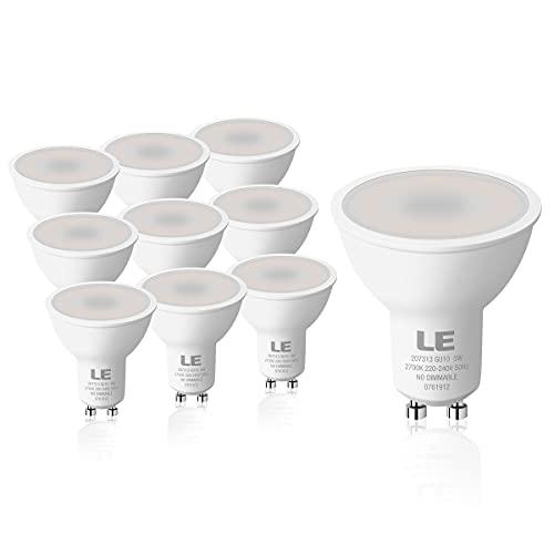 LE Lampadina LED GU10, 5W Faretto LED (Equivalente a 50W) Luce Bianca Calda 2700K, 450 Lumen, Angolo del Fascio di 100°, Nessun Sfarfallio LED Lampadine Non Dimmerabili, Confezione da 10 pezzi