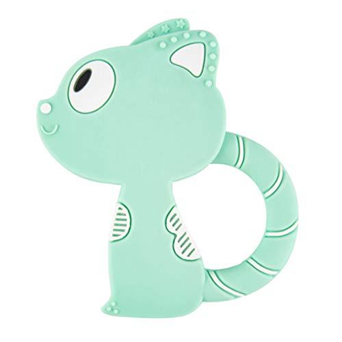 Shuang Bébé Silicone Dents serrées, Colle créative Mignon Chat Forme bâton molaire bébé Jouet (3 pièces)(Green)