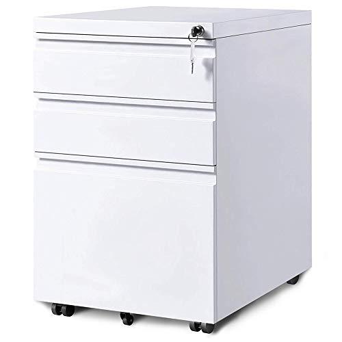 3-Drawer Mobile File Cabinets Rolling Metal Filing Cabinet for Legal & Letter File Anti-tilt Design with Lock Under Desk Office Drawers Fully Assembled Except Casters White