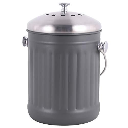 Mari Chef Komposteimer für den Innenbereich, Edelstahl, grau, mit Deckel, kohlenstoffgefiltertes Geruchskontrollsystem, weicher Griff, 5 Liter, 28 cm hoch, 18 cm breit