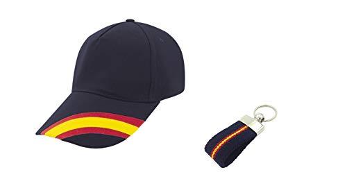 Desconocida Gorra Azul Bandera de España Regulable y Llavero Lona (Azul Marino) Accesorio Deportivo Padel, Golf, Tenis