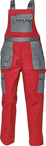 DINOZAVR Max Evolution Damen Latzhose - Modern Muster Multi-Taschen Strapazierfähige Arbeitshose - Rot/Grau 42
