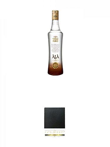 Yeni Raki ALA 0,7 Liter + Schiefer Glasuntersetzer eckig ca. 9,5 cm Durchmesser