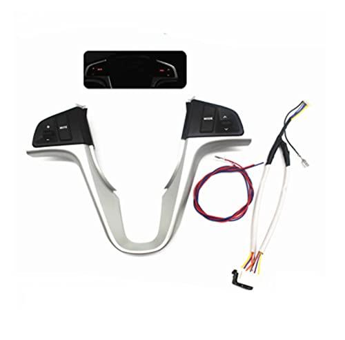 YINLANSTOR YLAN Store Botón de Volante Apto para Hyundai Verna Solaris Interruptor de botón de Control de música Volumen de Audio Volumen de dirección (Color : Silver-Red Light)