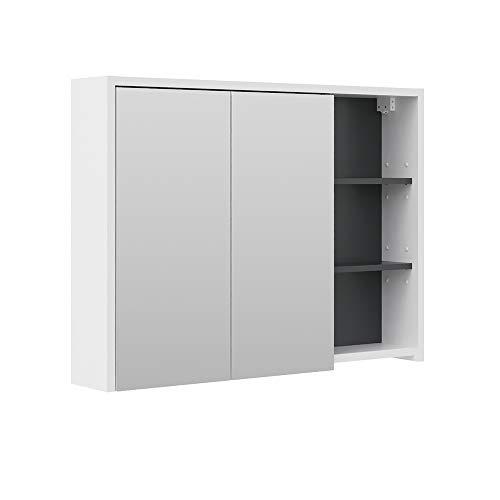Vicco Spiegelschrank Viola Badschrank Badspiegel 2 Türen mit Ablagen Badmöbel (Anthrazit-Weiss)