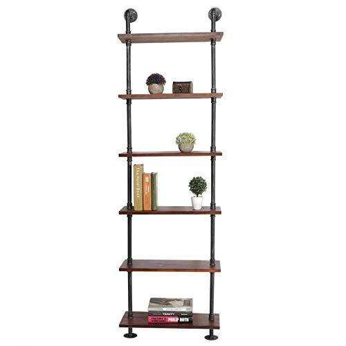 lyrlody- Estantería de pared con 6 capas, estantería de almacenamiento para biblioteca, estantería expositor, soporte de jardinería, mueble de almacenamiento, estantería práctica para salón, oficina