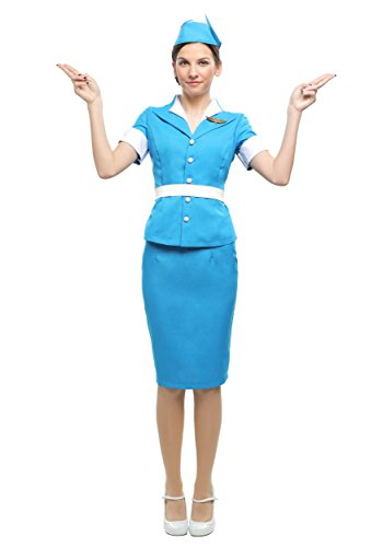 Women's Flight Crew Costume Flight Attendant Costume Adult Medium Blue