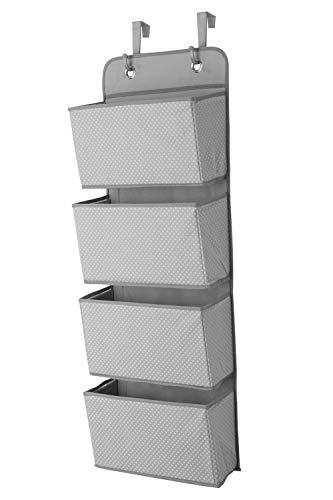 Starsglowing Schrank Organizer aus Stoff Hängeorganizer 4 Fächer für Handtücher Unterwäsche Socken faltbar 33 x 9 x 91 cm (Grau)