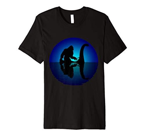 Bigfoot Riding on Nessie Loch Ness Monster Sasquatch Yeti Premium T-Shirt