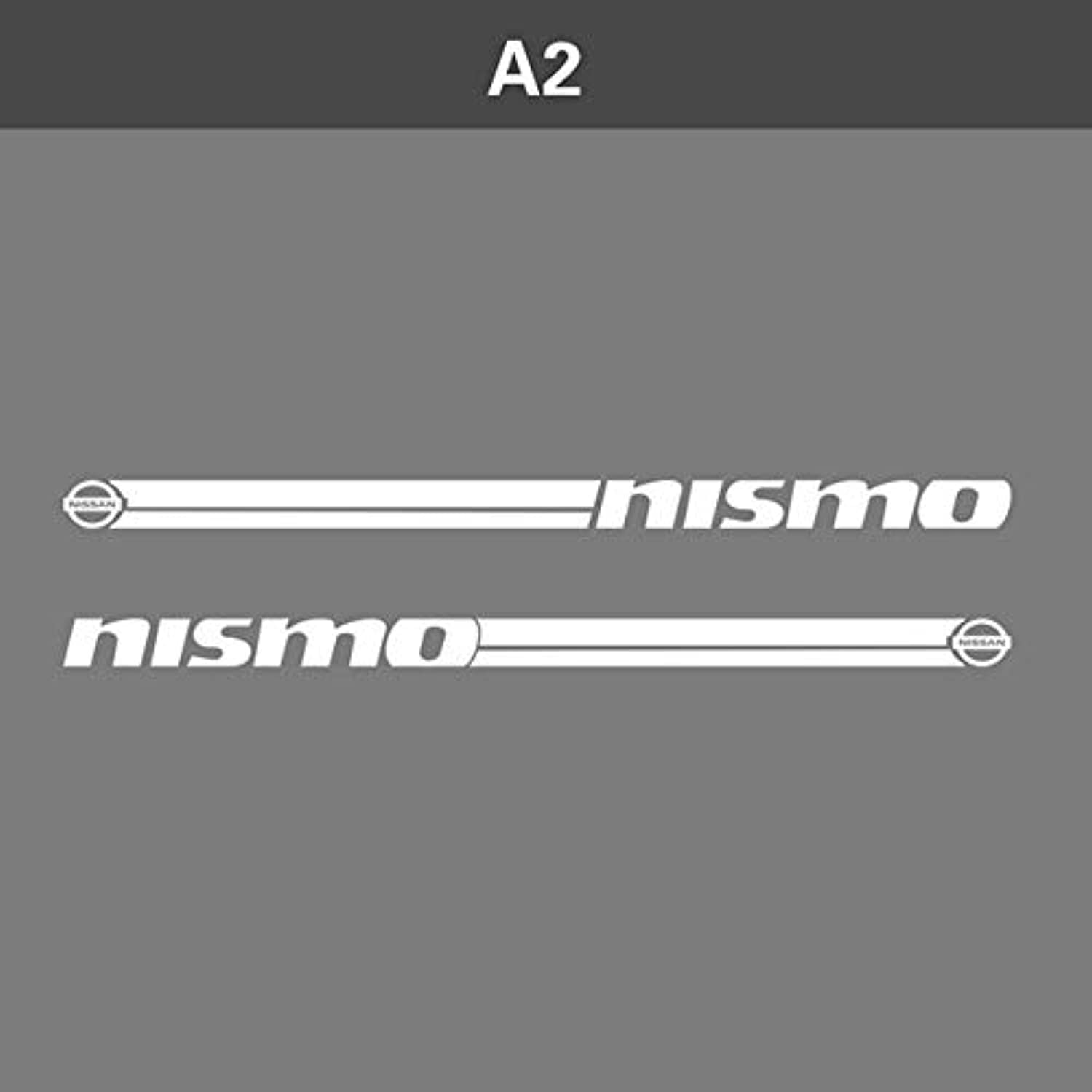 Hot 1 Pair 2 PCS Vinyl Car Styling Side Skirt Sticker Decals Stripe Wraps Body Stickers for Nissan Nismo  (color Name  White)