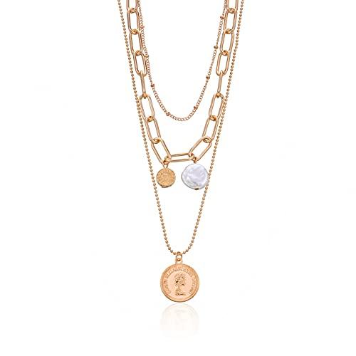 chenyueshangmao Collar Colgante Collar con Colgante de Cabeza de Reina en Relieve de joyería Collar de Perlas Salvajes con Cuentas Redondas de múltiples Capas Retro para Mujer Collar Amistad Regalo