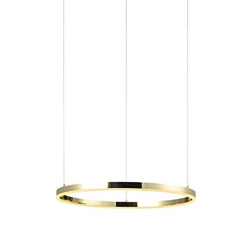s.LUCE Ring S LED-Hängeleuchte Ø 40cm Goldfarben Dimmbar LED-Ringleuchte LED-Ringlampe LED-Hängelampe Ring-Pendelleuchte Deckenlampe Wohnzimmer Design modern