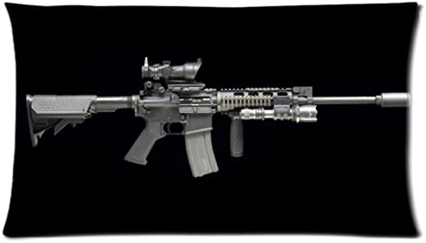 枪枕套新款黑色酷突击步枪定制 20x36 英寸两面