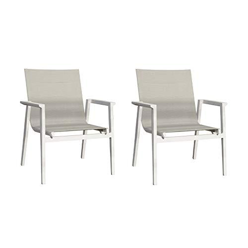 Meubletmoi - Juego de 2 sillones bajos, aluminio blanco y tejido textilene gris – WAHI
