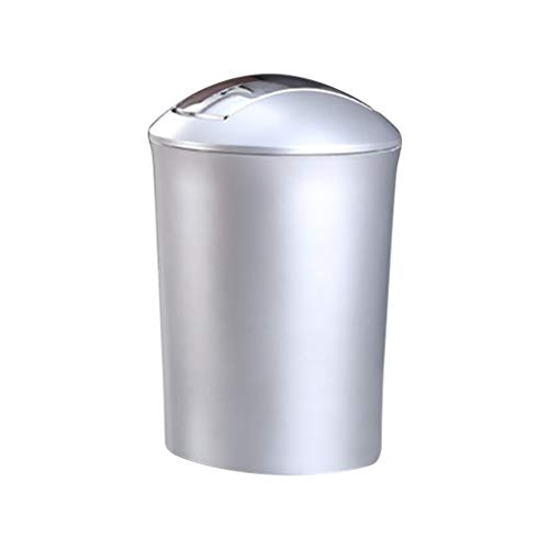 zlw-shop papeleras Bote de Basura de plástico del Norte de Europa Cuarto de baño Sala de Estar Casa Tipo de Aleta Papelera Canasta de Papel (Color : Silver, Size : S)