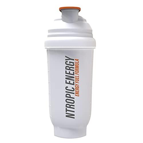 NTROPIC ENERGY Protein Shaker Bottle Translucent White Orange 700ml Mesh Mixing Technology