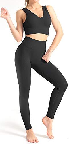 CNASA Women 2 PCS Workout Set Seamless Super Soft Deep V Neck Bra+Leggings Set Yoga Outfits Sports Clothing