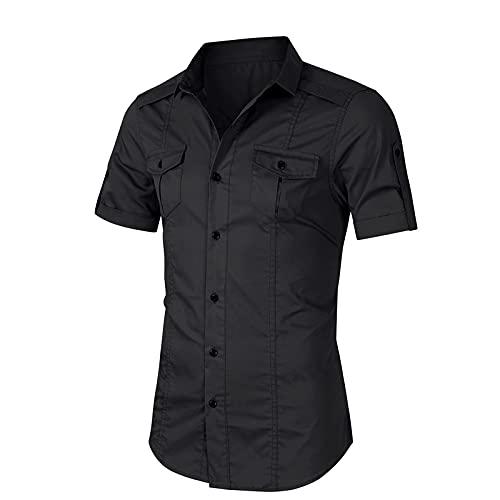 SSBZYES Herrenhemden, Herren-Kurzarmhemden, Herrenwerkzeughemden, europäische und amerikanische Herrenhemden, Herren-Freizeitoberteile, Herrenmode-Shirts
