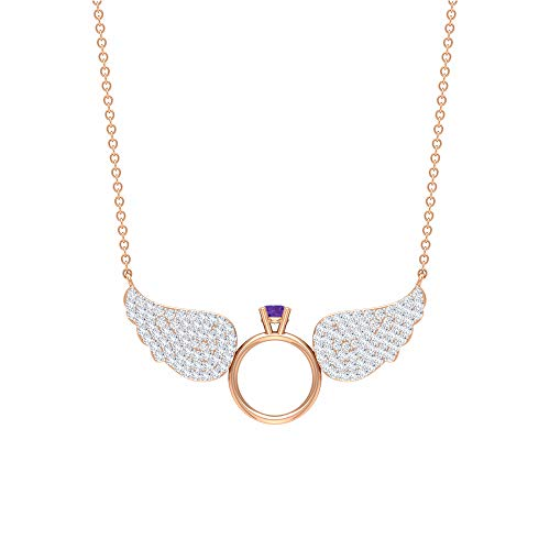 3/4 CT Diamond Cluster Necklace for Women, Ring with Wings Necklace, Purple Lavender Necklace, Solitaire Gemstone Pendant, Diamond Wings Necklace Gift, 18K Rose Gold