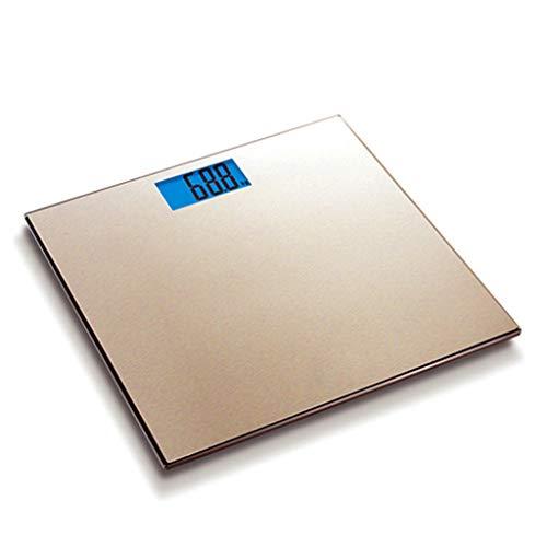 LJP Elektronische weegschaal, roestvrij staal geborsteld oppervlak digitale weegschaal thuis menselijk lichaam schaal HD blauw scherm badkamer schaal gezondheid nauwkeurige schaal