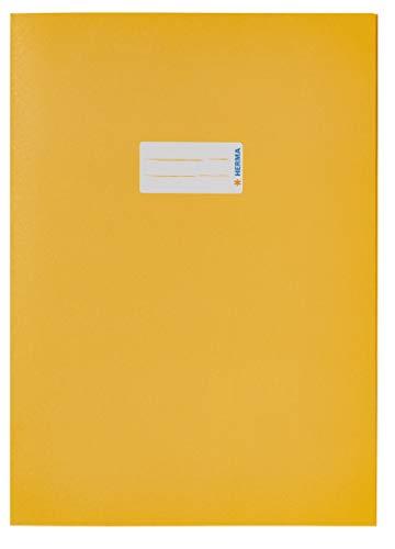 HERMA 5521 Papier Heftumschlag DIN A4, Hefthülle mit Beschriftungsfeld, aus kräftigem Recycling Altpapier und satten Farben, Heftschoner für Schulhefte, gelb