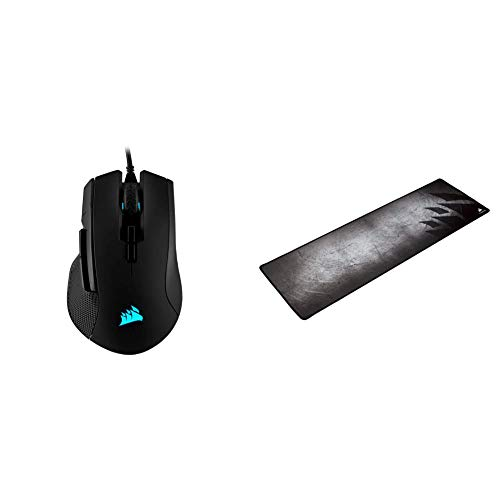 Corsair Ironclaw RGB - FPS and MOBA Gaming Mouse, Black & MM300 - Anti-Fray Cloth Gaming Mouse Pad - High-Performance Mouse Pad Optimized for Gaming Sensors, Multi Color (CH-9000108-WW)