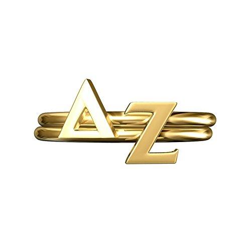 A-List Greek DZ Sorority Gifts, Delta Zeta Greek Letter Stack Rings, Sorority Jewelry, Adjustable Band Gold Plated, Cute for Bid Day, Rush, Big Little