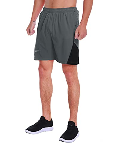 EZRUN Men's 7 Inch Quick Dry Running Shorts Workout Sport Fitness Short with Liner Zip Pocket(Grey,S)