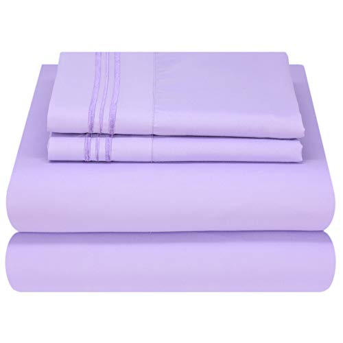 Mezzati Luxury Bed Sheet Set - Soft and Comfortable 1800 Prestige Collection - Brushed Microfiber Bedding (Lilac Lavender, Twin XL Size)