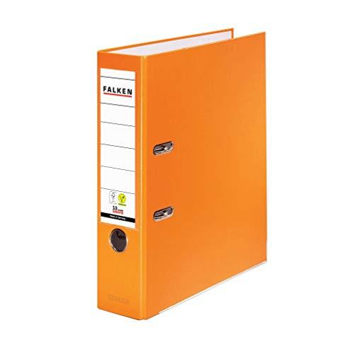 Original Falken PP-Color Kunststoff-Ordner. Made in Germany. 8 cm breit DIN A4 orange Ringordner Vegan Aktenordner Briefordner Büroordner Plastikordner Schlitzordner
