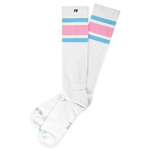 Spirit of 76 Candyland Hi | Hohe Retro Socken mit Streifen | Weiß, rosa & Blau gestreift | kniehoch | stylische Unisex Kniestrümpfe Größe L (43-46)