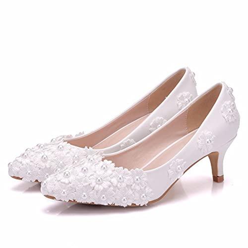 Zapatos De Novia, Tacones Altos Puntiagudos Con Perlas De Flores De Encaje,...