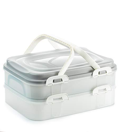 2friends Kuchen-Transportbox, Kuchenbehälter, Partycontainer mit praktischem Hebeeinsatz, Clickverschlüssen und Tragegriffen, 2 Etagen, Maße 40 x 30 x 18 cm=ca. 2x7 Liter, Made in EU, Fb.grau