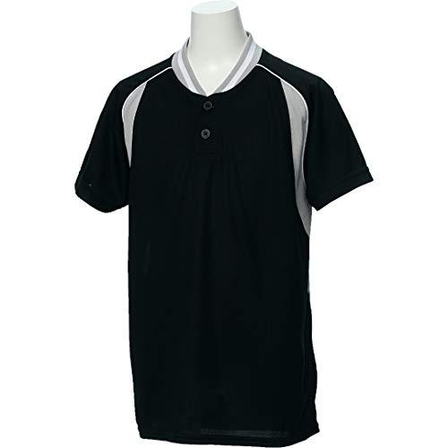 アシックス(asics) 野球 ウェア ジュニア ベースボール シャツ 半袖 2ボタン BAD12J 130サイズ ブラック/シルバーグレー BAD12J ブラック/Sグレー 130